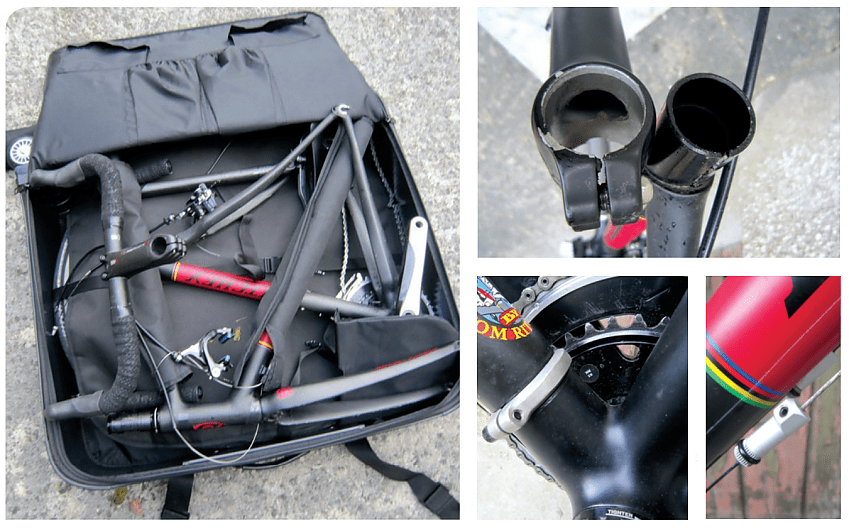 15 mins undoing Allen bolts. The top tube lug clamps seat tube and post. Cable splitter. Down tube clamp