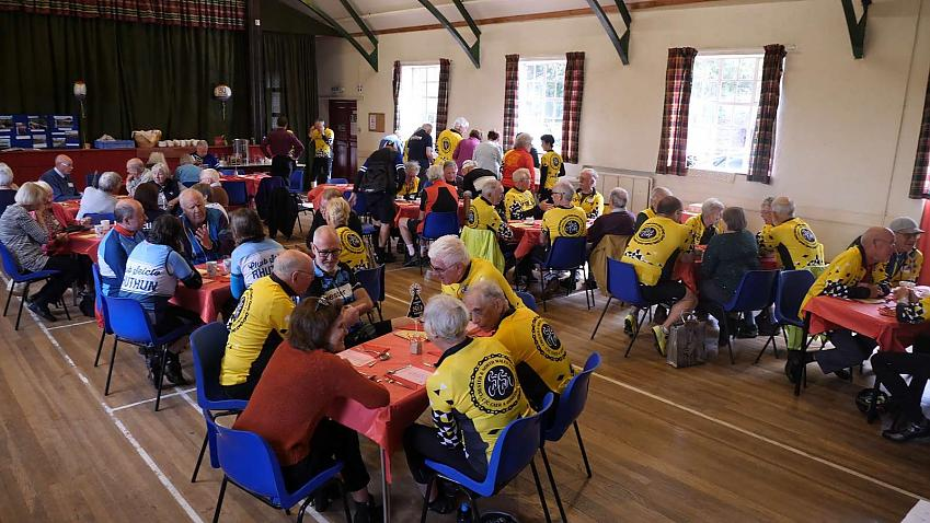 Guests enjoying the celebration lunch  Photo by Robby Spanring, Cycling UK