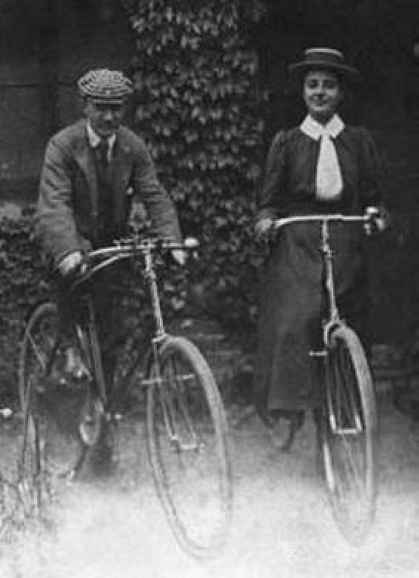 Rose and Tom Lamartine Yates on their bikes, c1900, Hugh Morgan/Merton Cycling Campaign