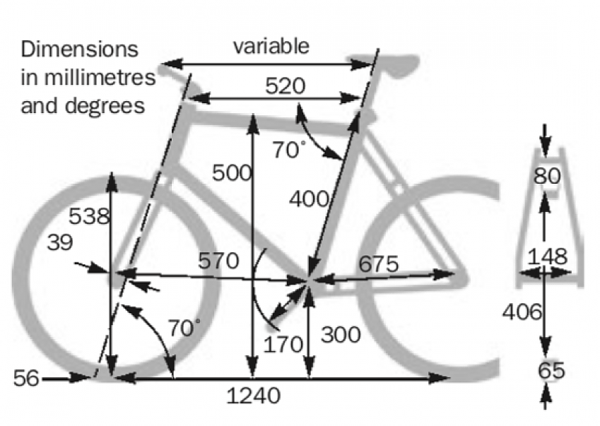 Frame dimensions for Tern GSD S10