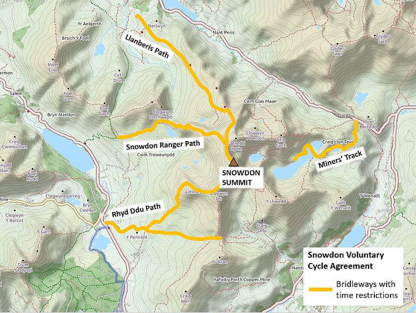Map of Snowdon bridleways