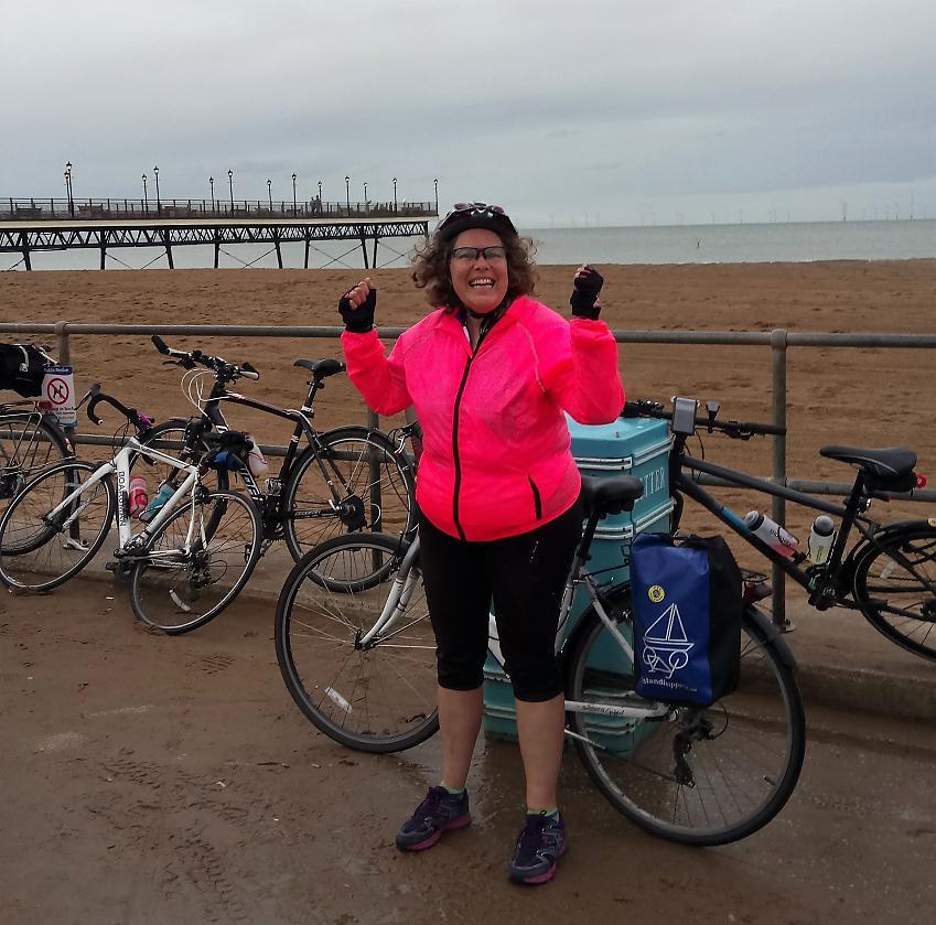 Susan McIvor with her bike in Skegness