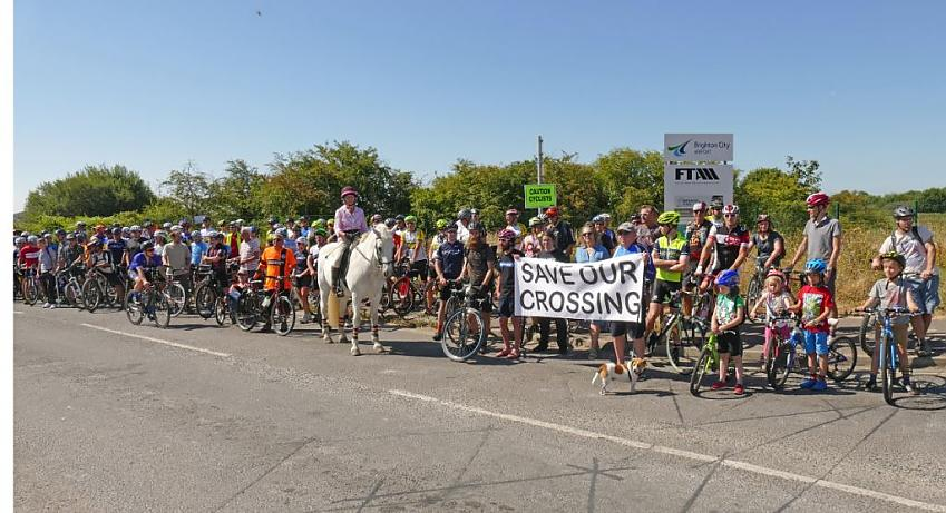 Save our Crossing protest (July 2018). Becky Reynolds, Bricycles
