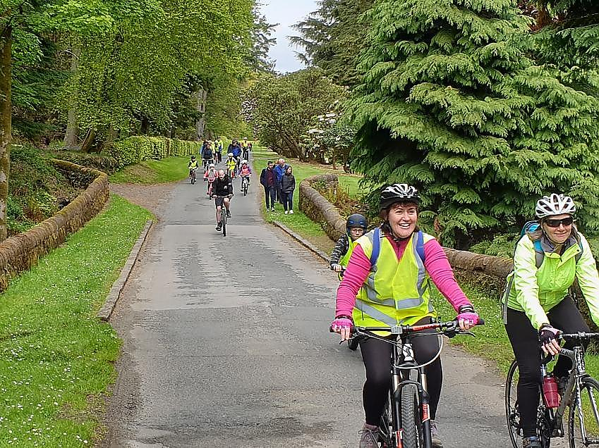 group of cyclists on Bute