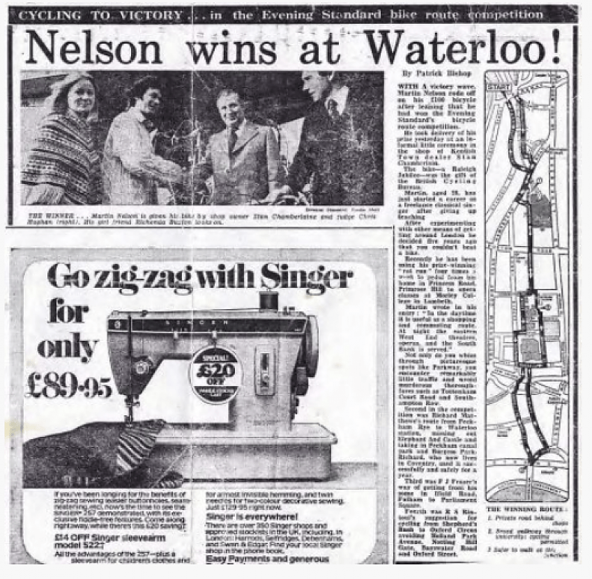 A newspaper cutting from the 1970s with the headline 'Nelson wins at Waterloo'.