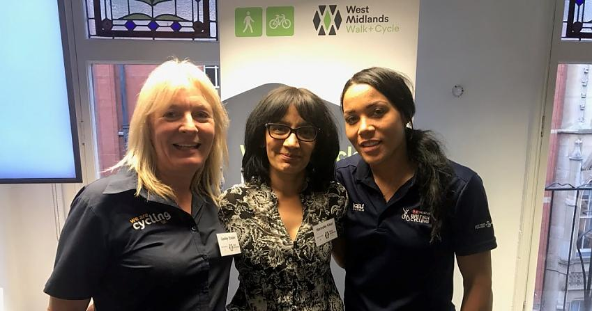 Cycling UK's Lesley Easter (left) was at the West Midlands Cycling Summit