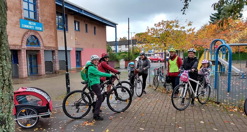 Mums and kids from the Mums on Wheels cycling group in Inverness