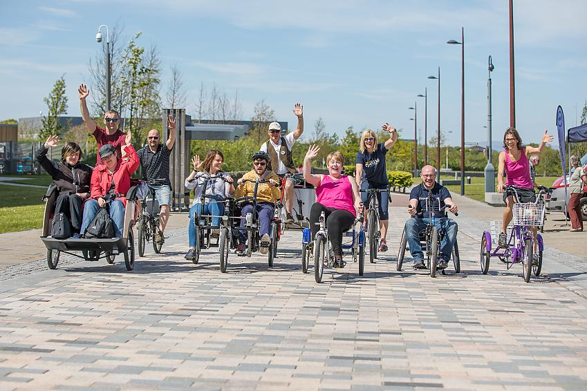 People tried out a wide range of adaptive bikes
