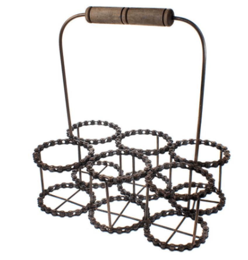 An empty wire vertically-loading wine rack