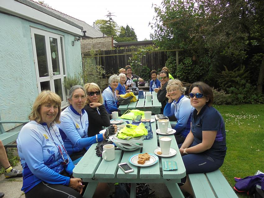 Sylvia enjoying a coffee with Wirral Bicycle Belles