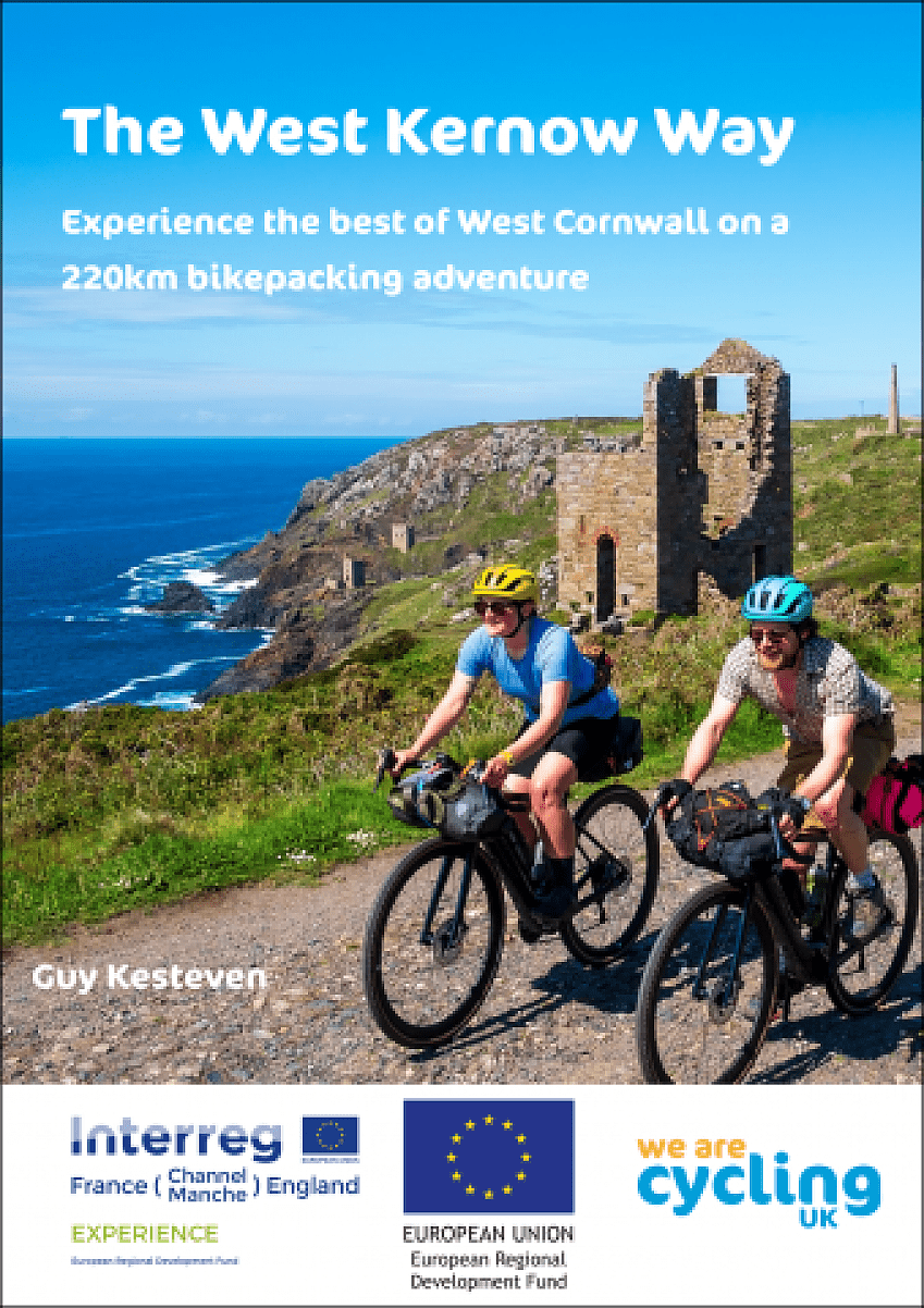 Two cyclists ride past the Botallack mines in Cornwall on the front cover of the West Kernow Way guide