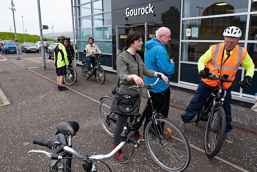 Cyclists near Gourock train station