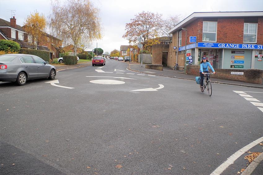 Riding in this position will make you more vulnerable - move into the centre of the roundabout as in the main photo at the top of this article.
