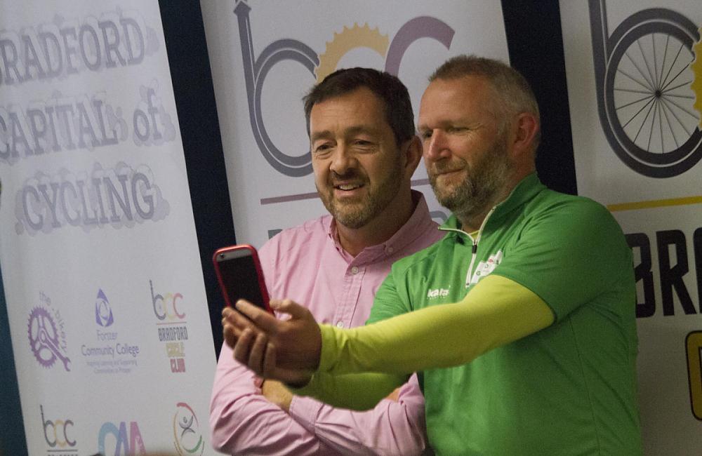 Taking a selfie with Chris Boardman