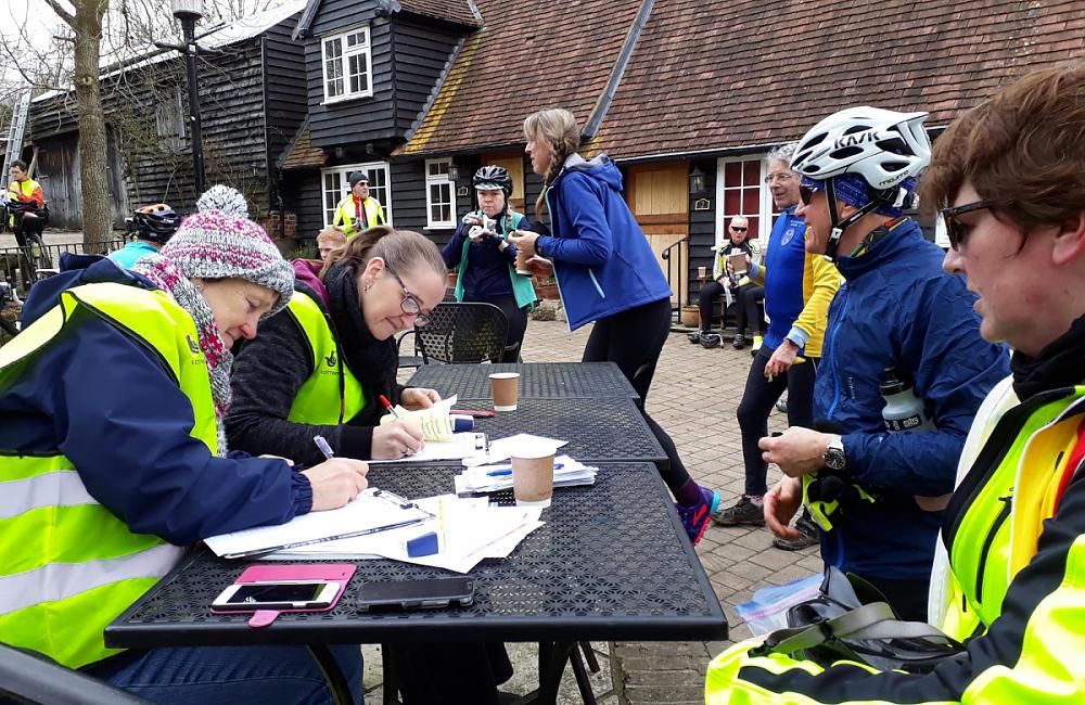 Some of the amazing volunteers checking riders in