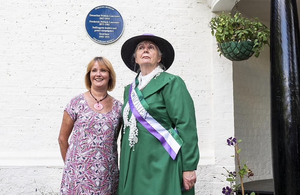 Author Kathy Atherton with 'Mrs Pankhurst'