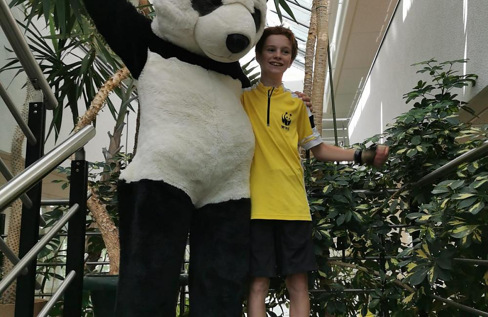 Welcomed by official WWF mascot