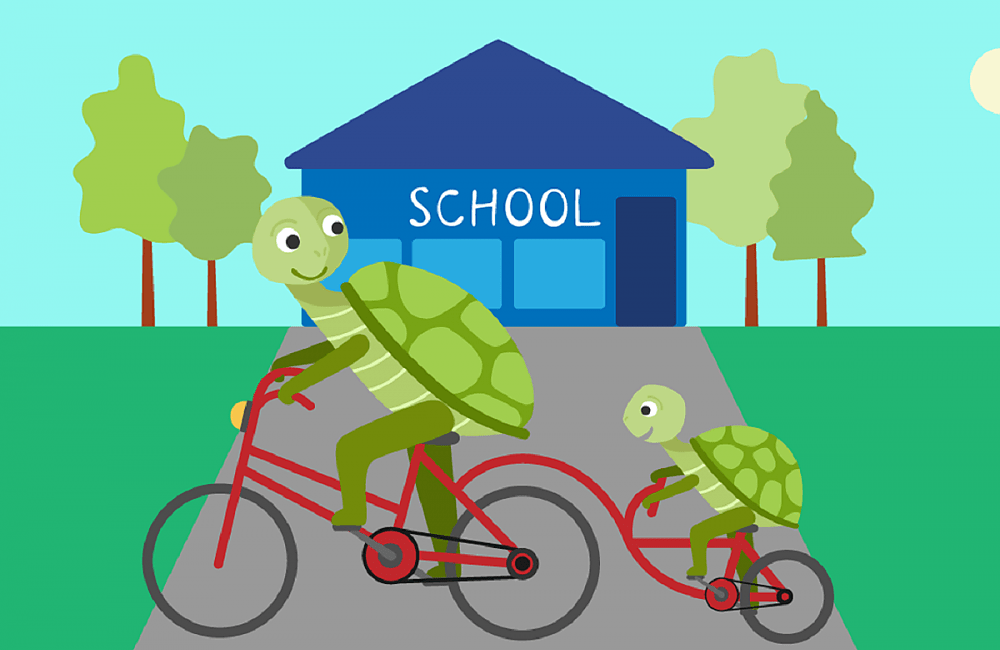 Illustration of tortoise and child on a tag along bike