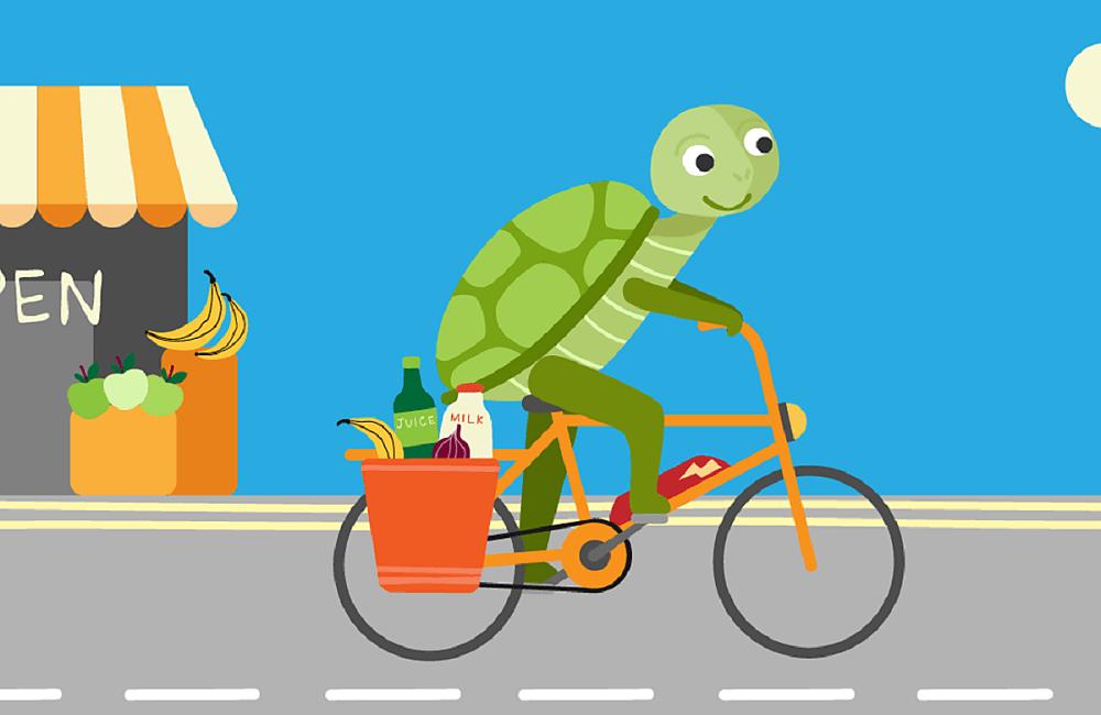 Illustration of Tortoise going shopping by bike