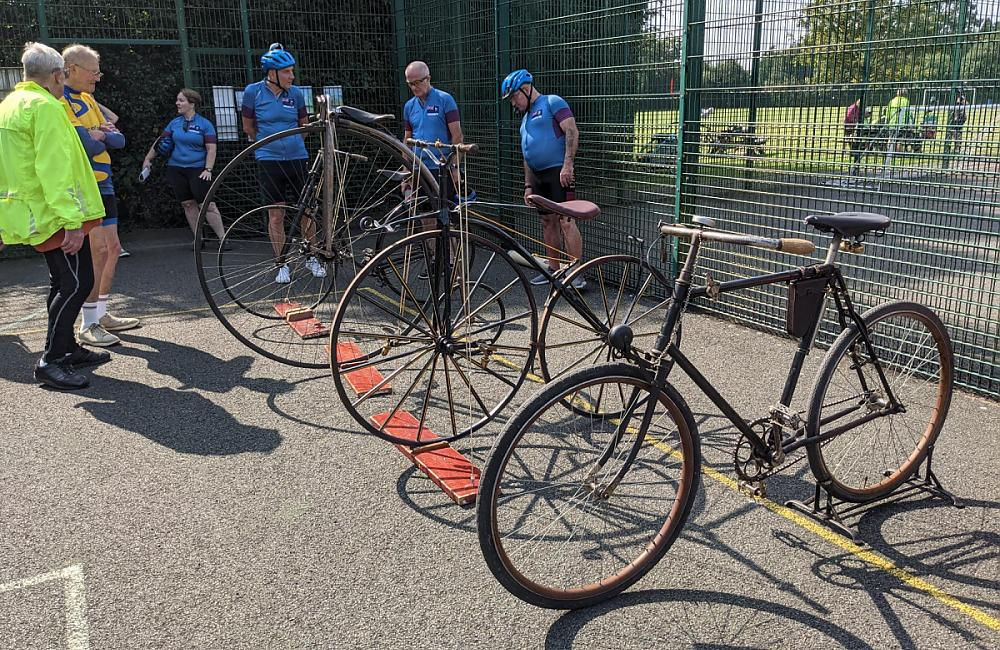 Old bikes on display at the Meriden Cyclists Memorial Service