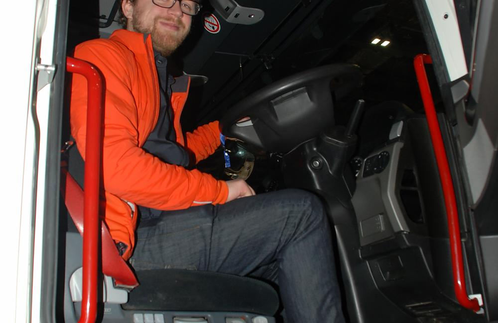 CTC Campaigner Sam Jones in a lorry looking at when drivers can't see cyclists.