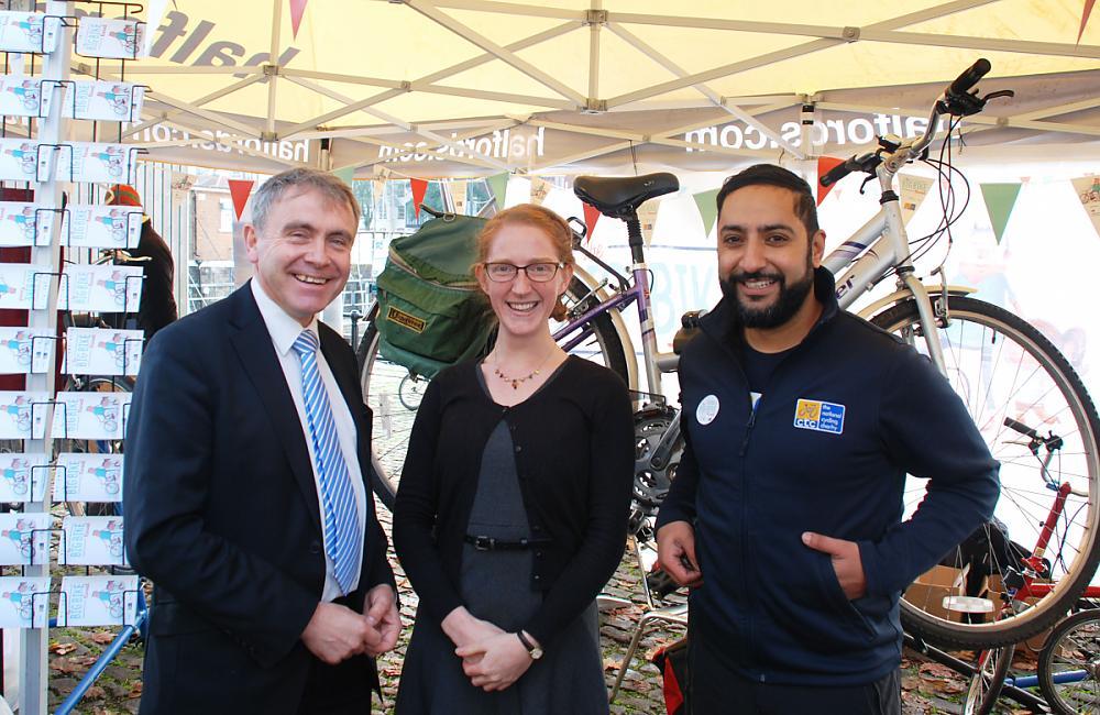 Cycling Minister Robert Goodwill. Naomi Hughes and Javed Saddique