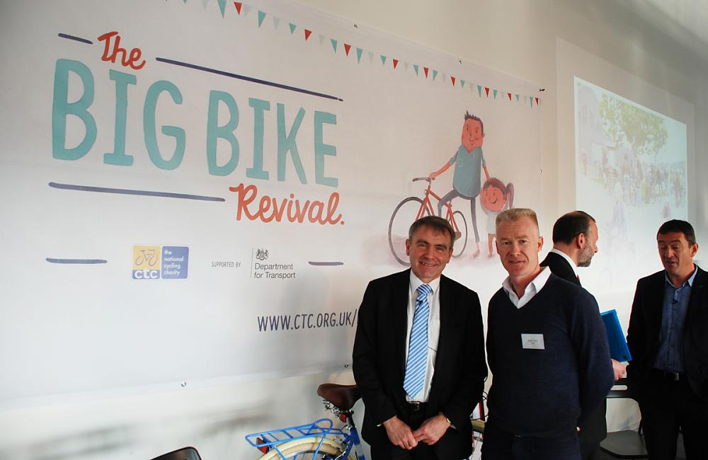 Cycling Minister Robert Goodwill and Paul Tuohy