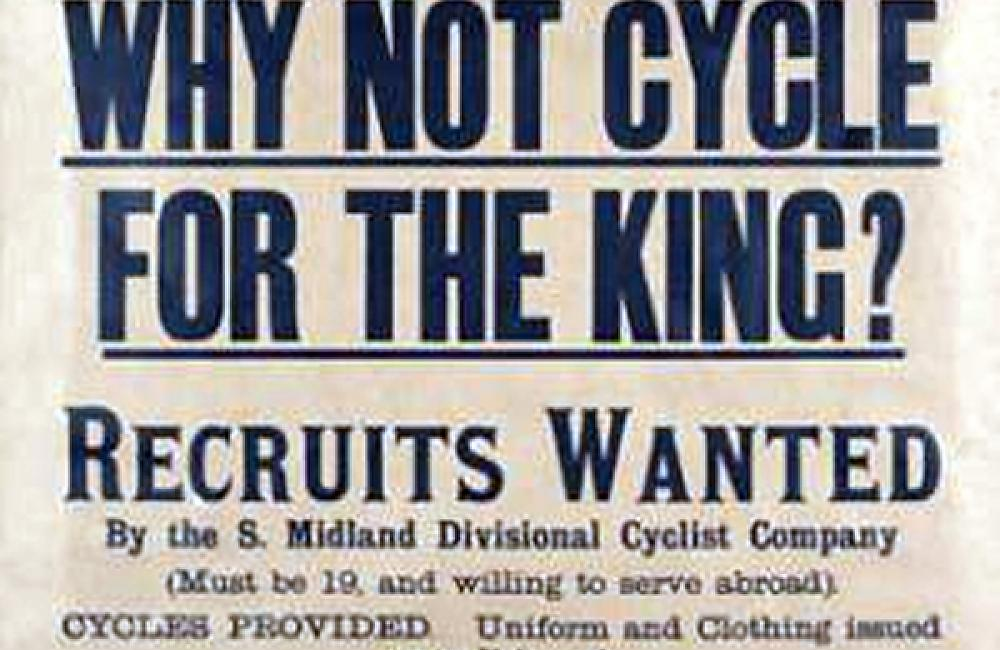 Are you fond of cycling? If so, why not cycle for the King? Recruits wanted