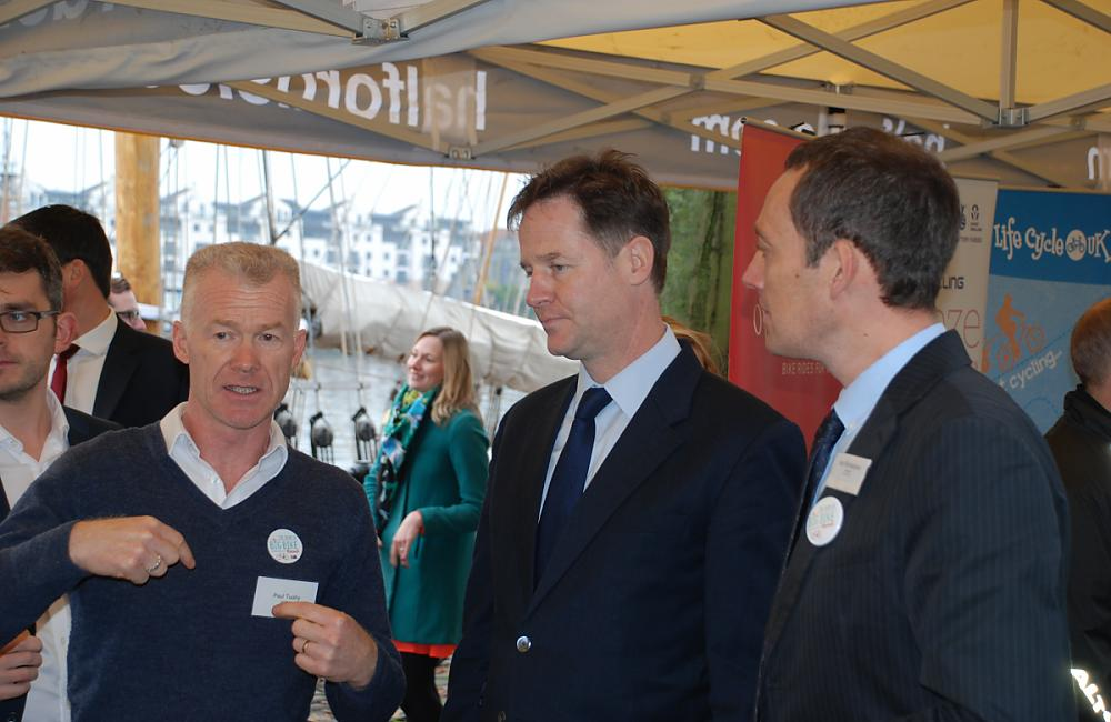 Paul Tuohy talking to Nick Clegg